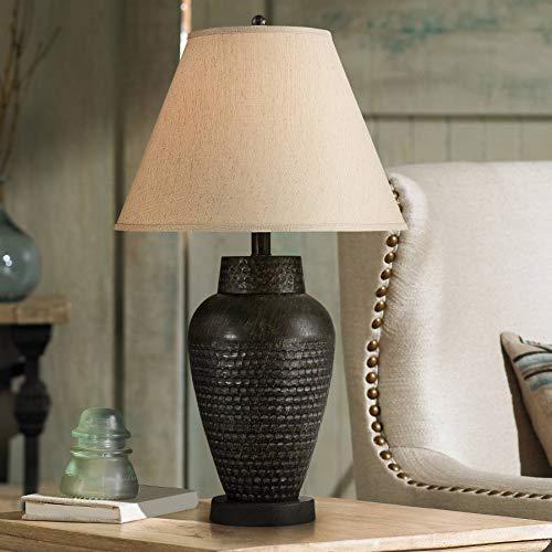 Auburn Modern Table Lamp Rustic Hammered Bronze Metal Vase Natural Linen Empire Shade for Living Room Family Bedroom Bedside