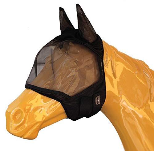 Horses, Máscara Anti Moscas para Caballo, Modelo Soft Pro Mask, Fabricada en Nylon y Algodón con Orejeras, Ligera y Transpirable, Talla M, L, XL, Color Negro (M)