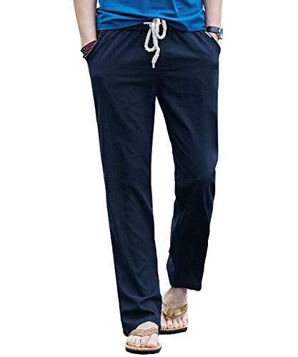 Preisvergleich Produktbild Sporthose Hosen Casual Herren Hosen Leinen Mit Festlich Bekleidung Seitentaschen Lässige Hose Loose Freizeithose Mode Kleidung Jogginghose (Color : Dunkelblau,  Size : 2XL)