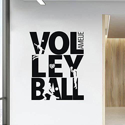 keletop Sommer Beach Volleyball Wandtattoo benutzerdefinierte Name Sport Mädchen Raumdekoration Volleyball Logo Spielen Silhouette Vinyl Wandmalerei 57x72cm