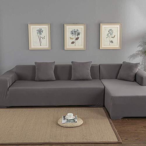 Ejoyous Elastische Sofabezug L Form, Sofabezug, Stretch Sofa, Schonbezüge Sofa Überwürfe Sofabezug Elastische Stretch für L-Form Sofa 3 + 2 Sitz Ecke Sofabezug (Grau)