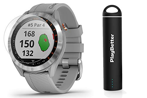 Garmin Approach S40 (Gray) Golf GPS Smartwatch Bundle | Includes PlayBetter Portable Charger (2200mAh) & HD Screen Protectors | Stylish, Color Touchscreen, 41,000+ Courses | 010-02140-00