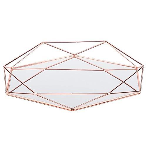 Duokon Espejo Sexangle de metal dorado para maquillaje, portaobjetos, decoración, joyas, portaobjetos, de cristal y metal, organizador para cómoda, baño, dormitorio (oro rosa)