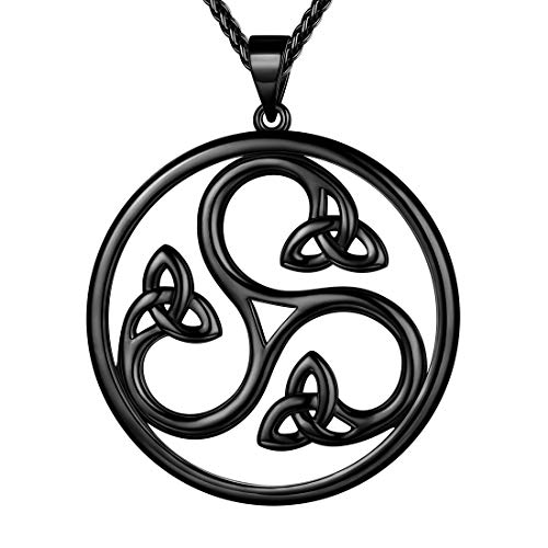 Beautlace Celtic Knot Necklace Black Gun Plated Good Luck Irish Triskele Celtic Knot Vintage Knot Pendant Birthday Gift for Women Men KP0056K