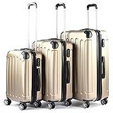 Gold 3 Suitcases Set Trolley ABS Semi-Rigid Padlock 4 Wheels Suitcase Cabin
