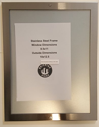 """Elevator Notice frame 8.5"""" x 11"""" stainless Steel"""