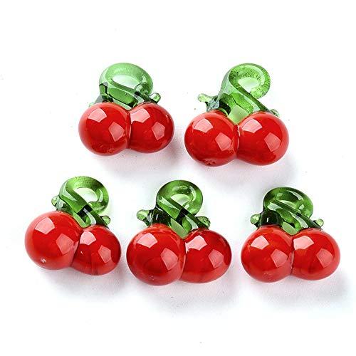 Craftdady - 20 cuentas de cristal con forma de cerezo rojo hecho a mano para pulseras, collares, joyas, 2 – 3 mm