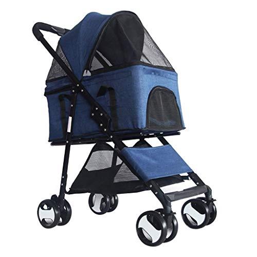 Hundewagen bis 15 Kg Premium 4-Rad-pet Kinderwagen für Kleine Hunde/Katzen, Hundebuggy Hunde Pram Spaziergänger...