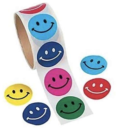 300 Colorful SMILEY FACE Stickers (3 Rolls of 100) SMILE - Incentives TEACHER Classroom Daycare DOCTOR Dentist