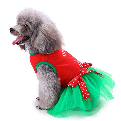 Mulple Pet Kleidung Weihnachts-Kostüm für Katzen/Hunde Welpen Weihnachtskleid Bequeme atmungsaktive weiche und süße Haustierkleidung Ärmelloser Weihnachts-Minirock für Pet (M)