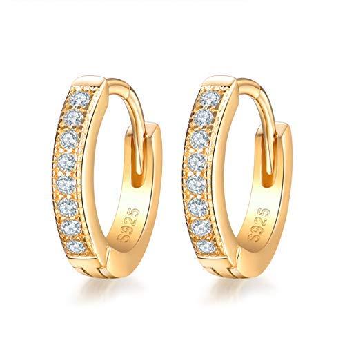 SNORSO Sterling Silver Gold Hoop Earrings for Women Girls with AAA Cubic Zirconia, 13mm Small Hoops Sleepers Earrings