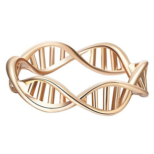 Anillo Qiandi con forma de ADN bañado en oro