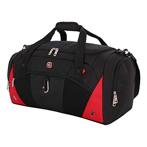 "SWISSGEAR 1900 22"" Duffel Bag | Gym Bag | Travel Duffle Bags | Men's and Women's - Black/Red"