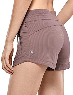 CRZ YOGA Women's Casual Hiking Shorts Drawstring Striped Athletic Lounge Travel Shorts with Pockets -3 inches Mauve L
