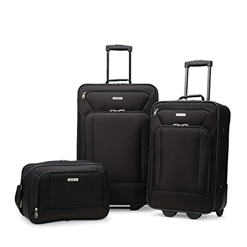 American Tourister Fieldbrook XLT Softside Upright Luggage, Black, 3-Piece Set (BB/21/25)