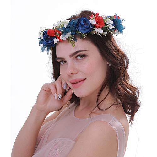 Mädchen Hochzeit Rose Blume Krone Stirnband Blumenkranz für Haar Frauen Boho Blume Girlande Stirnband für Festival Party Gr. Einheitsgröße, blau