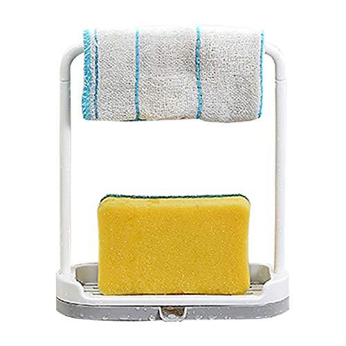 ふきん Rag スポンジ石鹸ホルダーシンクオーガナイザー食器洗い液体水切りラックキッチンアクセサリー多目的使用トレイより便利でシンプル (グレー)