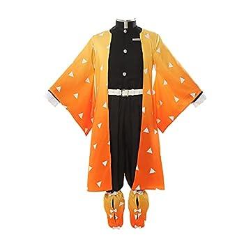 CR ROLECOS Zenitsu Agatsuma Cosplay Costume Demon Slayer Zenitsu Cosplay Kimono Outfit Robe Uniform Suit Halloween XL