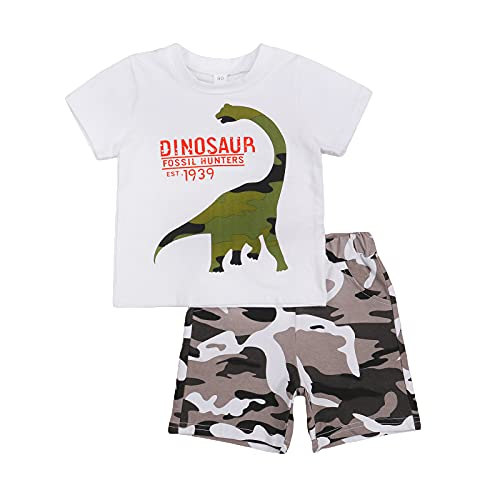 Conjunto de ropa de verano de camuflaje dinosaurio tops camisas pantalones cortos de ropa de juego de 2 piezas 100% algodón