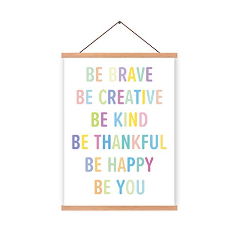 Natural Wood Magnetic Hanger Frame Poster- Inspirational Quotes Motivational Canvas Art Print,Colorful Saying Be Brave Be Happy Be You Painting,28X45cm Frames Hanging Kit