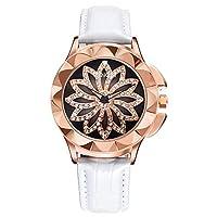 QTMIAO 美しいSKONE時計 WEIQINレディースターンテーブル腕時計ダイヤモンドベルトクォーツ時計 (Color : 1)