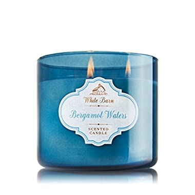 Bath and Body Works Bergamot Waters Candle - Large 3-wick 14.5 oz White Barn Candle Co. - Bergamot Sandalwood Scent