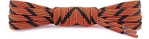 Ladeheid Sicherheitsenkel Rund, 21 Farben, 8 Längen, 5mm – Schnürsenkel für Arbeit & Outdoor - Extrem Reißfest, Waschbar, Abriebfest, Polyester, Rundsenkel (Schwarz/Orange, 220 cm/ø 5 mm)