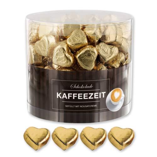 Günthart 150 Stück gold Schokoladen Herzen mit Nougatfüllung | Nougatcreme Kaffeezeit | Schokoladenherzen gold Wien |Give away | goldene Herzen aus Schokolade | Kaffeezeit (1,2 kg)