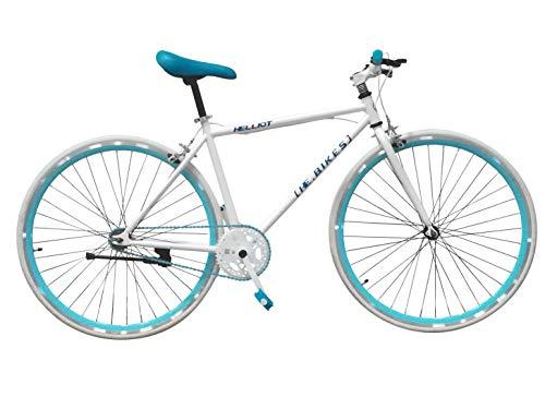 Helliot Bikes Soho 02, Bicicletta Fixie Urbana Unisex Adult, Bianco e Blu, M-L