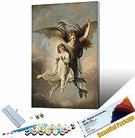 番号でペイントペ かわいい女の子の肖像画 子供のためのDiyキャンバス油絵学生大人 ブラシとアクリル顔料 30x45cm DIYフレーム
