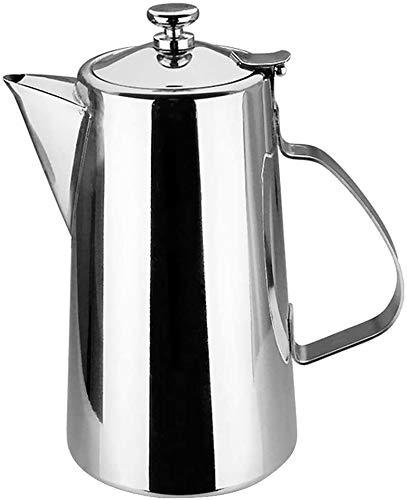 Bouilloire induction Boisson au lait de café Beige courte bec carafe en acier inoxydable avec couvercle for 1,5L argent WHLONG