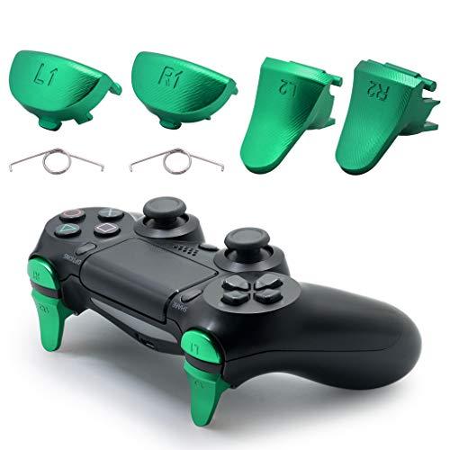 TOMSIN Ersatzauslöser für PS4 Slim / PS4 Pro Controller, Aluminium Metall L1 R1 L2 R2 Trigger Buttons für PS4 Controller Gen 2 Grün grün
