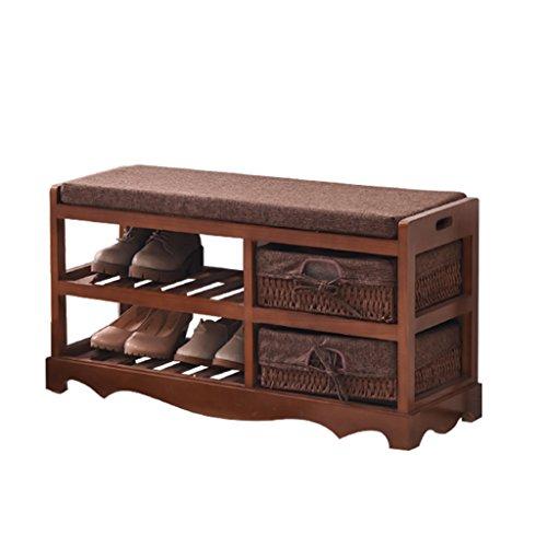 Meubles à chaussures Armoire à chaussures résistant à la poussière de bois solide banc de chaussure de remplacement à la maison tabouret de stockage de support de chaussure de 2 étages étagère à chaus