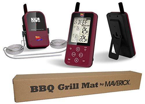 Maverick Et-733 Long Range Wireless Bbq Thermometer with Barbecue Grill Mat (Burgundy)