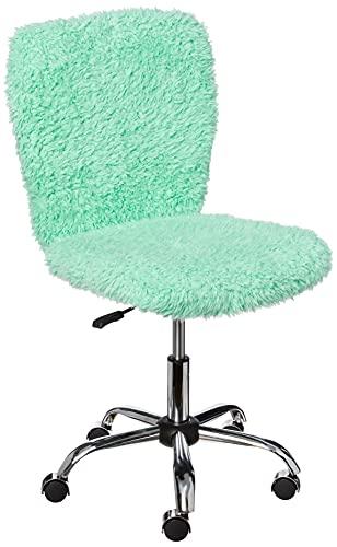 Urban Shop Faux Fur Rolling Task Chair, Mint