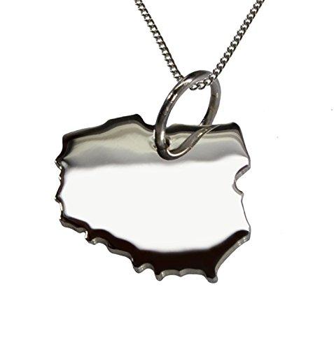 50cm Halskette + Polen Anhänger in massiv 925 Silber
