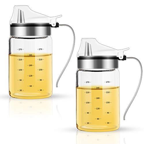 FARI Olivenöl-Spenderflaschen – 2 Stück à 300 ml, bleifreies Glas zum Kochen von Öl und Essig mit Griff für Küche und Grill 300ml