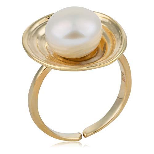 Córdoba Jewels   Anillos en Plata de Ley 925 bañada en Oro con diseño Oval Perla Gold