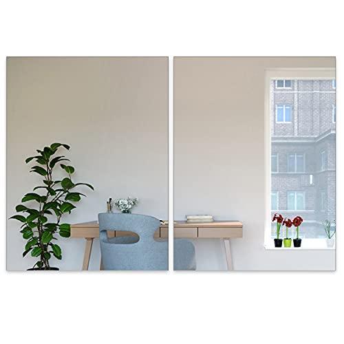 2 pegatinas de pared de espejo de acrílico autoadhesivas, hojas de espejo no de vidrio, azulejos de espejo para decoración de pared del hogar (40 x 30 cm)