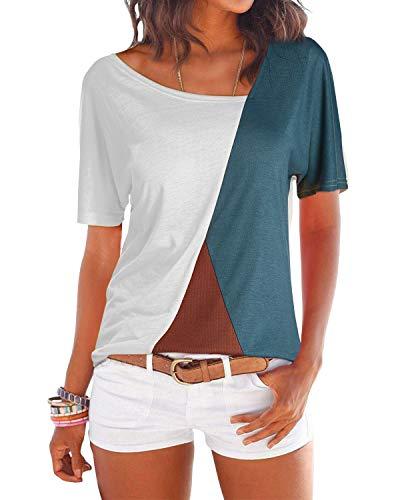 YOINS Donna Camicetta Casuale Maglietta con Spalla Fredda T-Shirt con Collo Alto a Maniche Lunghe Pullover a Righe Felpe Manica Corta-Bianco EU32-34