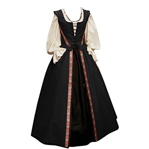 Cuteelf Damen zweiteiliges Kleid Gericht Retro gotischen mittelalterlichen Ballkleid Herbst und Winter gotischen Blumendruck Prinzessin Kleid Lange Nacht Taille hoch gebunden