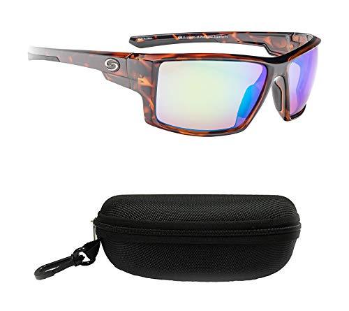 Strike King S11 Pickwick Polarized Sunglasses, UVA/UVB Protection, Shiny Tortoiseshell Frame, Multi Layer Green Mirror Amber Base Lens with Black Case