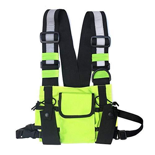 WY Männer Frauen Brusttasche Reflektierende Weste Hip Hop Streetwear Funktionsgeschirr Brusttasche Packung Vordere Taille Tasche Rucksack ZYFGY (Color : Green Color)