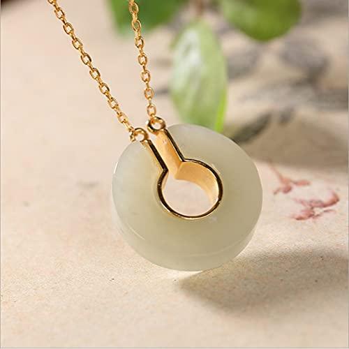 YANGYUE Collares Minimalistas de Piedras Preciosas Reales para Mujer, Colgantes + Cadenas de Jade Natural, joyería de Plata auténtica 925 P1036