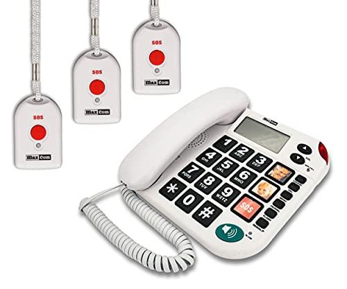 MAXCOM KXT481SOS (G-TELWARE®) Haus-Notruf-Seniorentelefon mit Funk-SOS-Sender, schnurgeb&enes Festnetz-Handy mit 3 Umhängesendern, Große Tasten, TAE Stecker, Hörgerätekompatibel