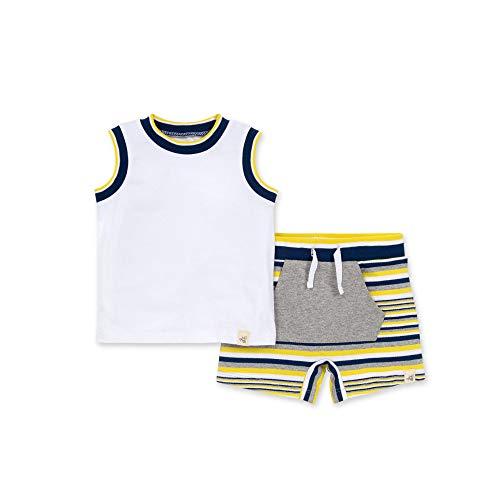 Burt's Bees Baby Baby Boys' Shirt and Pant Set, Top & Bottom Outfit Bundle, 100% Organic Cotton, Tipped Rib Tank & Shorts, 12 Months