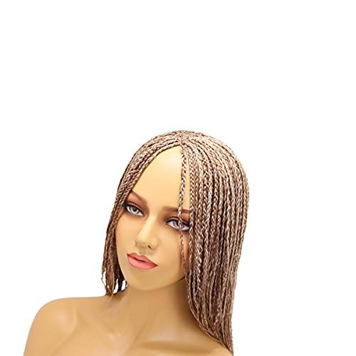 Pelucas de encaje frontal trenzadas pelucas sin nudos caja trenzadas Cornrow trenzado pelo negro mezcla larga peluca trenzada 22 pulgadas