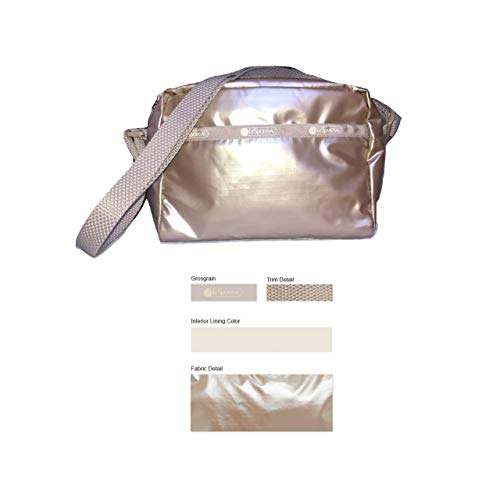 LeSportsac Opal Frost Metallic Daniella Crossbody Handbag, Style 2434/Color F451, Soft Gold Iridescent Matte Metallic Specialty Material, Textured Crossbody Strap