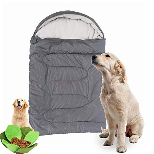 QWET Saco De Dormir para Mascotas para Acampar Al Aire Libre, Forro De AlgodóN De Terciopelo Suave Que Puede Apretar Libremente La Cama para Mascotas, con Juguetes para Mascotas,Gris