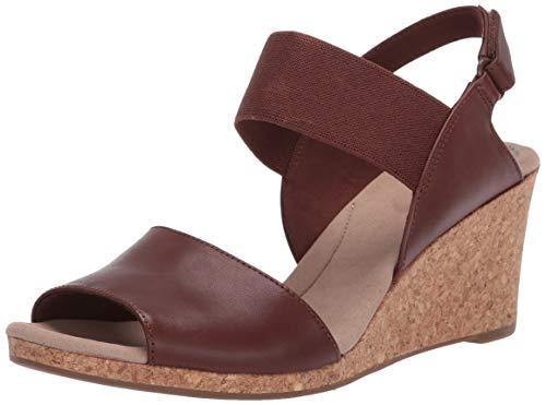 Clarks Lafley Lily, Sandalias con cuña para Mujer, marrón (Tan Leather), 44.5 EU